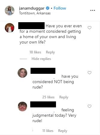 Comments on Jana Duggar's earlier post.