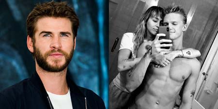 Liam Hemsworth in a collage photo with Cody Simpson and Miley Cyrus.