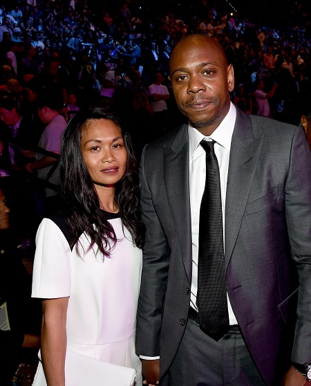 "Elaine Chappelle (L) and Dave Chappelle pose ringside At ""Mayweather VS Pacquiao"" presented by SHOWTIME PPV And HBO PPV at MGM Grand Garden Arena on May 2, 2015 in Las Vegas, Nevada."