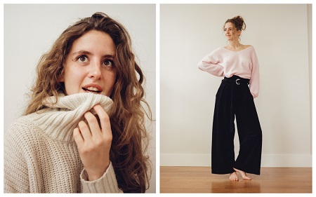 (Left photo) Louisa in a white-ish sweater with the turtleneck held by her left hand to her lower lip. (Right Photo) Full sized photo of Louisa posing with a light pink top and long black bottom, her face looking to the left of the camera and right hand on her hip.