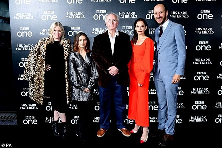 (from left) Jane Tranter, Dafne Keen, Philip Pullman, Ruth Wilson and Jack Thorne posing in from of the premier board.