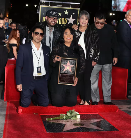 Selena's family at the Hollywood Walk of Fame.