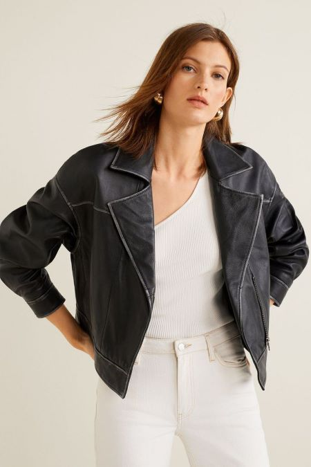 Biker leather coat comes in a crop size.