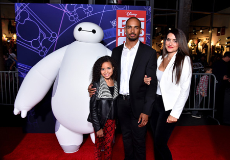 Damon and Samara with his daughter at the Big Hero Six premiere.