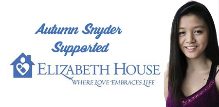 Autumn's headshot on the right as a banner for Elizabeth House in a white background. She smiling wearing a purple top.