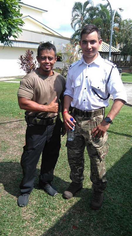 Benjamin Atkinson in unifrom with a Gurkha soldier.