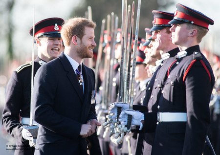 Prince Harry talking to the new recruits of the Royal Military Academy Sandhurst.