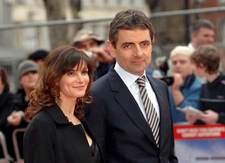 Rowan Atkinson with his wife Sunetra Sastry.