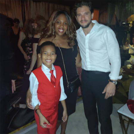 Ja'siah Young with his mother and Game of Thrones Kit Harrington.