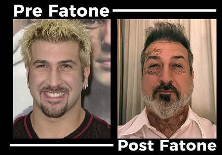 Headshots of Joey Fatone before the face tattoo (left) and after the Post Malone style face tattoo (right).