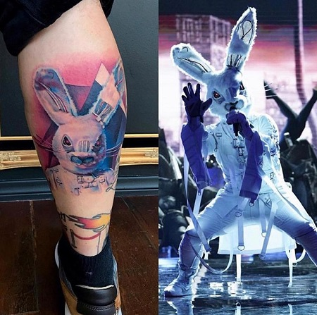 (left) The rabbit tattoo of Fatone on his right leg. (right) Fatone completely in the rabbit tattoo singing while showing his dance moves.