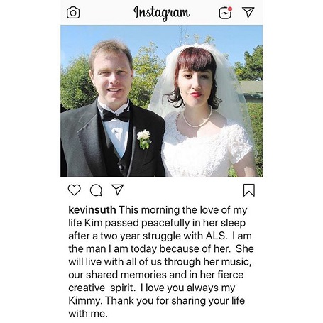 Kevin Sutherland's tribute post on Instagram including the caption, a photo of their wedding day in their wedding dress, half shot photo.