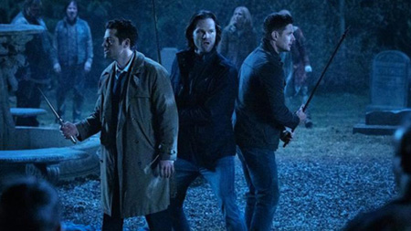 Sam, Dean and Castiel against the monsters.