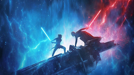 Kylo Ren and Rey battle on top of a platform.