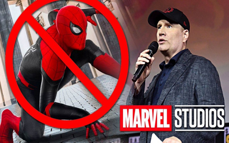 Spider-Man with a stop sign and Kevin Feige talking in a collage edited photo.