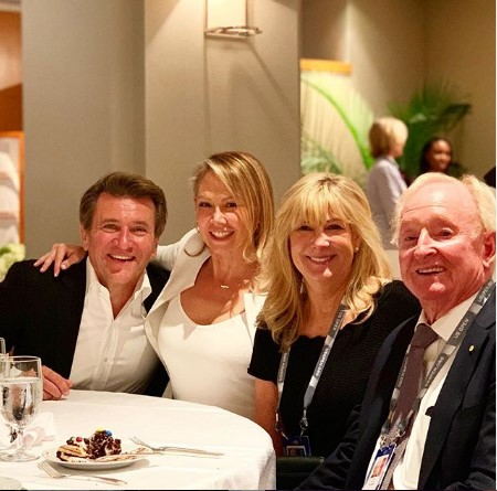Herjavec and Kym attending a casual dinner with two of their friends.