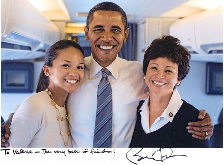 Valerie Jarrett and her daughter Laura Jarrett with President Obama on election day in 2008.