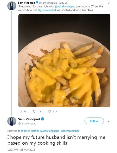 "A snapshot of Samantha's tweet with the comment, ""I hope my future husband isn't marrying me based on mu cooking skills!"" at the bottom. The photo is of potatoes with Mayonnaise poured on top."