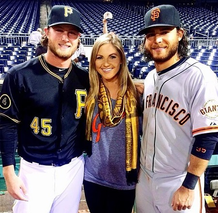 Brandon Crawford pictured with his sister, Amy, and brother-in-law Gerrit.
