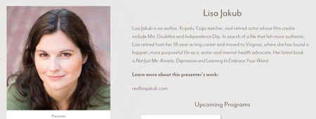 Lisa Jakub is helping people battle anxiety as a presenter for Kripalu.