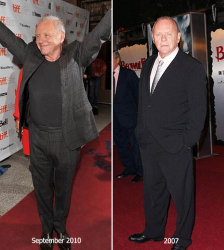 Anthony Hopkins lost 80 pounds of weight in three years.