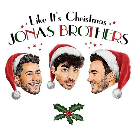 Jonas Brothers' animated bobble-heads wearing Christmas hat and smiling. 'Like It's Christmas, JONAS BROTHERS' written above them with a jingle bell below.