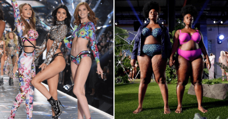 on the left picture there are 3 Victoria's secret angels on the runway of the 2018 fashion show and on the right side there stands 2 black plus size women in Rihanna's Fenty lingerie from on the runway of SavagexFenty 2019 show.