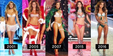 VS models from the fashion show of the year 2001, 2005, 2007, 2015 and 2016. where the models are basically wearing similar things, showing a lack of change over the years.