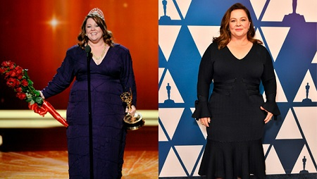 Melissa McCarthy accepting an awards onstage (left) and posing for a photoshoot during an event.