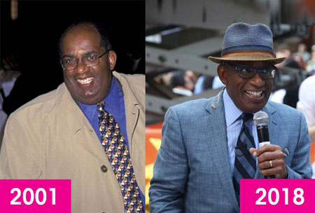 Before and after photo of Al Roker who got a weight loss surgery to drop 100 pounds of weight.