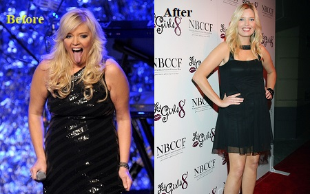 Weight comparison, before and after photos of Melissa Peterman.
