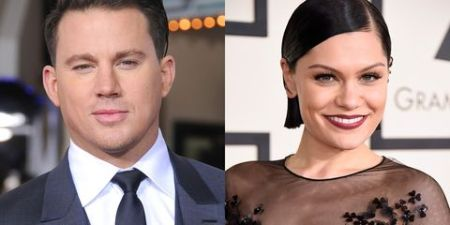 Channing Tatum wearing a suit and a tie alongside Jessie J who is smiling.