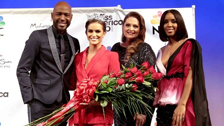 Miss America 2020 Camille Schrier stands with Miss America 2020 judges Karamo Brown, Lauren Ash and Kelly Rowland on Dec. 19.