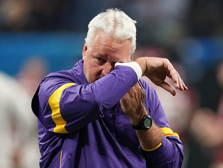 Steven Ensminger Sr. wiping his tears at the mentioned game.