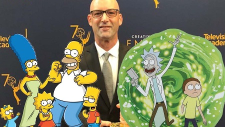 J. Michael Mendel tributed with 'The Simpsons' and 'RIck & Morty' in the foreground.