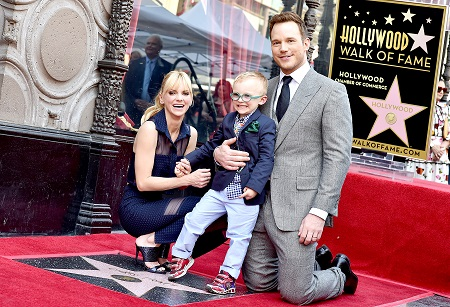 Anna Faris and her ex-husband Chris Pratt with their son at the Hollywood Walk of Fame for their star.