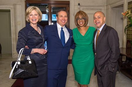 Denise D'Ascenzo and Dennis House with former WFSB anchors Gayle King and David Ushery, all smiling at the camera.