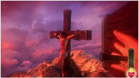 Gameplay view from Jesus being Crucified.