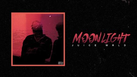 "cover of the moonlight song from 999 album. on the cover a faded picture of juice Wrld on a black background with text on the side ""moonlight"" JUICE WRLD"