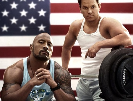 "Wahlberg and Dwayne ""The Rock"" Johnson in the poster for the movie, 'Pain & Gain'."