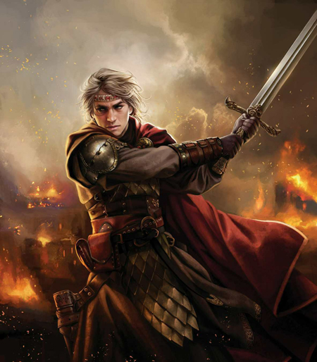 Aegon the Conquerer swings his sword as cities burn behind him.