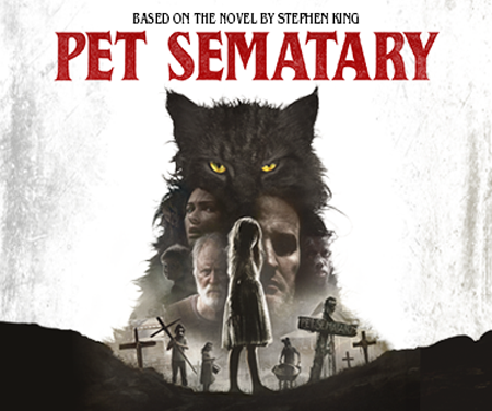 The cast of Pet Sematary on the official poster, as a black cat looms over all of them.