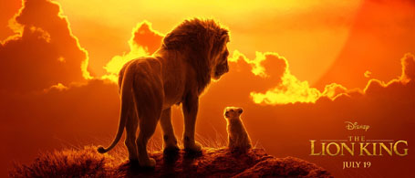 Mufasa looks down on young Simba as the sun sets in The Lion King poster.