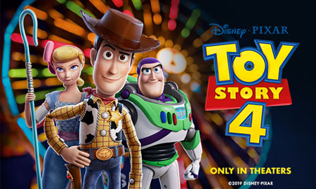 Bo Peep, Woody and Buzz on the poster of Toy Story 4.