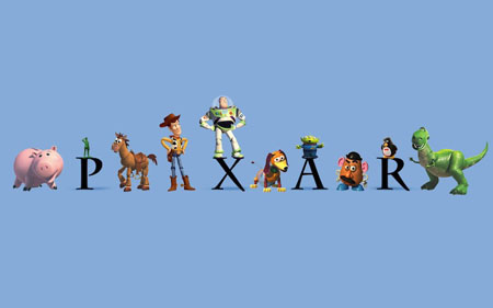 All the characters of Toy Story movie, with the Pixar Animation Studios Logo.
