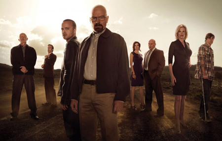 The cast of Breaking Bad stand around and look at the camera.