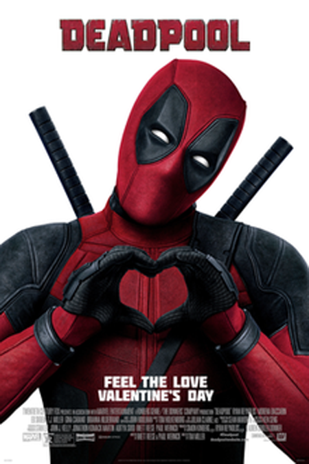 Deadpool makes a heart sign as he poses for the camera on the poster of the first Deadpool movie.