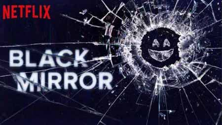 The smily face appears on a cracked mirror on the poster of Black Mirror.