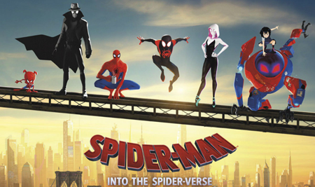 Five Spider people from alternated universe join Miles on a railing.