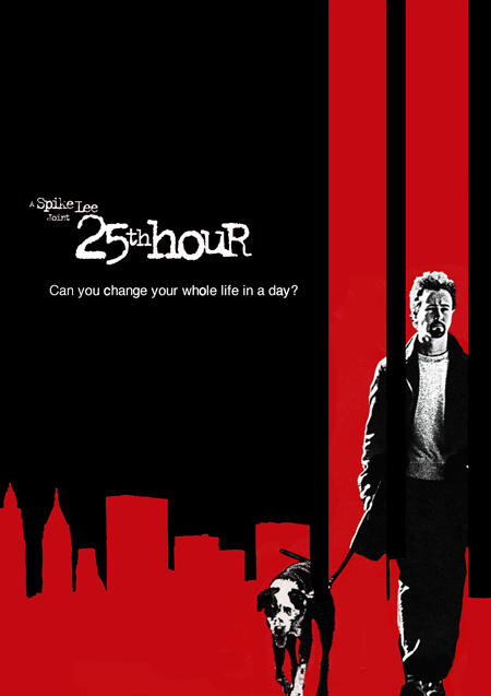 The poster for The 25th Hour, as Edward Norton is seen walking with a dog.